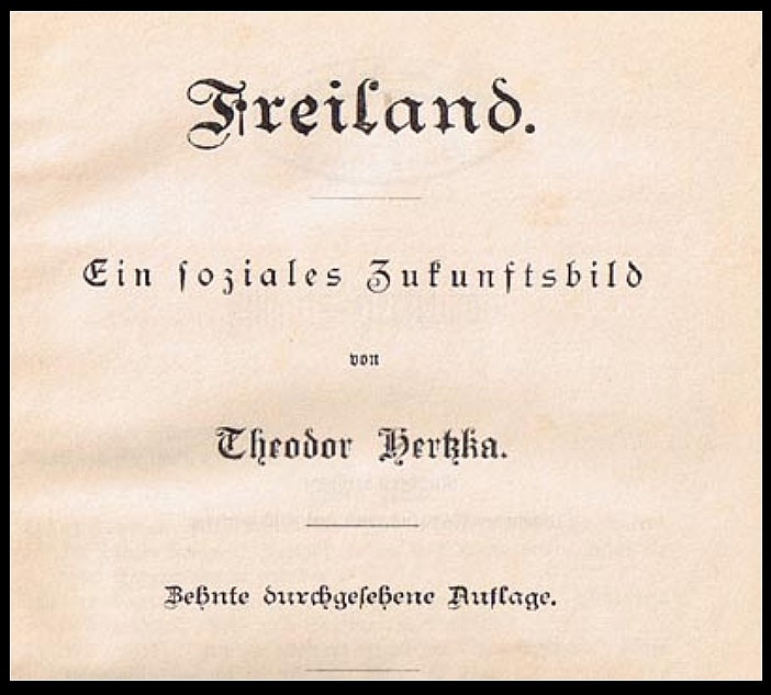 "Buch Theodor Hertzka: ""Freiland"" (Otto-Lilienthal-Museum CC BY)"