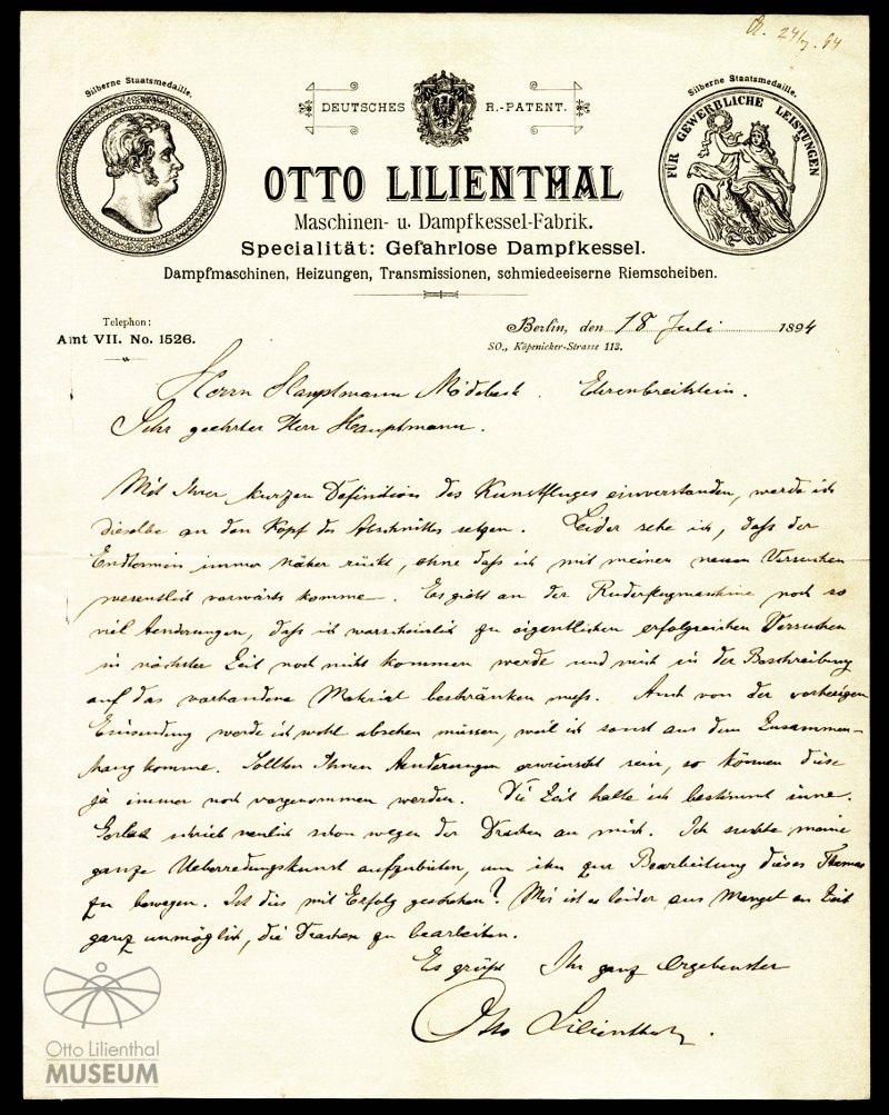 Autograph: Brief Otto Lilienthals an Hermann Moedebeck :: Otto ...